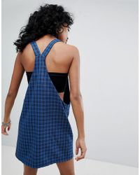 The Ragged Priest - Blue Pinny Dress In Check - Lyst