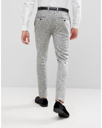 ASOS - Multicolor Asos Super Skinny Suit Trousers In Black And White Printed Crosshatch for Men - Lyst