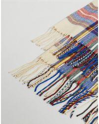 ASOS - Multicolor Blanket Scarf In Cream Tartan for Men - Lyst