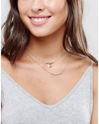 ASOS - Metallic Pack Of 2 Layering Necklaces - Lyst
