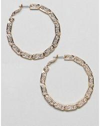 ASOS - Metallic Design Hoop Earrings With Vintage Style Twist Design In Gold - Lyst