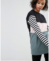 ASOS DESIGN - Multicolor T-shirt With Color Block And Stripe Panels And Superlong Sleeves - Lyst