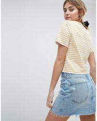 Miss Selfridge - Multicolor Striped Broderie T Shirt - Lyst