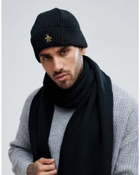 Original Penguin - Black Rib Beanie Hat for Men - Lyst