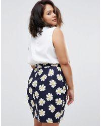 AX Paris | Blue Plus Dress With Jacquard Daisy Skirt | Lyst