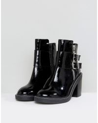 ASOS - Black Asos Elaby Leather Patent Heeled Ankle Boots - Lyst