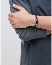 Emporio Armani | Leather Logo Bracelet In Black for Men | Lyst