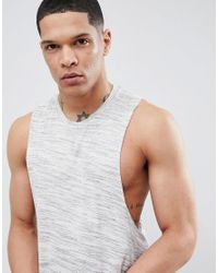 ASOS - Gray Design Sleeveless T-shirt In Grey Inject for Men - Lyst