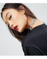 ASOS - Metallic Sterling Silver Fine 90mm Hoop Earrings - Lyst