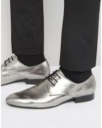 Dune | Black Metallic Lace Ups In Pewter for Men | Lyst