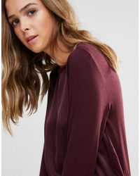 B.Young - Red Top With Silky Panelling - Lyst