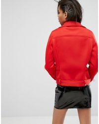Mango - Red Scuba Biker Jacket - Lyst