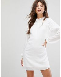 Fashion Union - White Long Sleeve Smock Dress With Ribbon Tie Gathers - Lyst