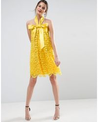 ASOS - Yellow Salon Aline Lace Mini Dress With Bow Detail - Lyst