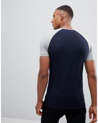 ASOS - Blue Muscle Fit Raglan T-shirt With Contrast Sleeves 2 Pack Save for Men - Lyst