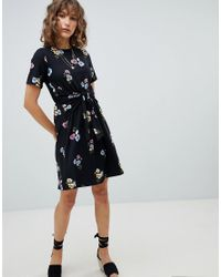 Warehouse - Black Poppy Bunch Twist Front Skater Dress - Lyst