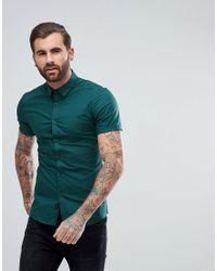 ASOS - Green Skinny Shirt In Teal for Men - Lyst