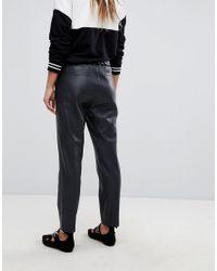Esprit - Black Faux Leather Jogger Pant - Lyst