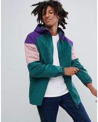 Pull&Bear - Nylon Jacket With Colored Panels In Green for Men - Lyst
