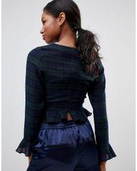 Love - Blue Ruffle Long Sleeve Top - Lyst