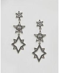 Orelia - Metallic Statement Multi Star Drop Earrings - Lyst