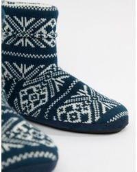 ASOS DESIGN - Blue Slipper Boots In Navy Christmas Fairisle for Men - Lyst