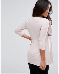 ASOS - Pink Nursing Drape Front Top - Lyst