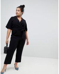 River Island - Black Kimono Sleeve Tailored Jumpsuit - Lyst