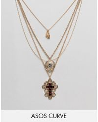 ASOS - Metallic Asos Design Curve Exclusive Multirow Necklace With Choker And Crystal Vintage Icon And Cross Pendant In Gold - Lyst
