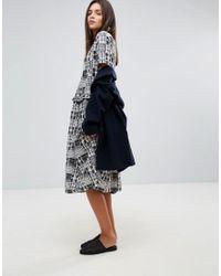 YMC - Gray Patchwork Ruffle Midi Dress - Lyst