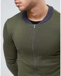 ASOS - Green Knitted Cotton Bomber With Contrast Trims In Khaki for Men - Lyst