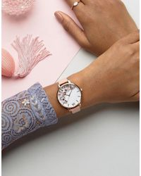 Olivia Burton - Signature Floral Pink Leather Large Face Watch - Lyst