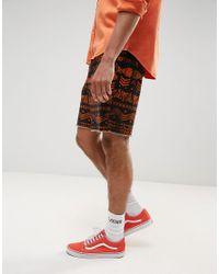 ASOS - Black Festival Slim Elasticated Waist Shorts With Aztec Print for Men - Lyst