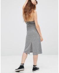 NYTT - Gray Elysia Halter Dress With Plunge Front - Lyst