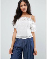 e89ca2f921d313 Lyst - Liquorish Liqurosh Crochet Cold Shoulder Cami Top in White