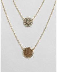 ASOS - Metallic Pack Of 2 Filigree Disc Necklaces - Lyst