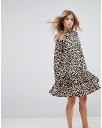 0ceafdc876761 Lyst - ASOS Smock Pep Hem Mini Dress In Leopard Print