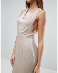 ASOS - Natural Open Side Square Neck Maxi Dress - Lyst