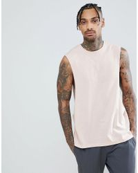 ASOS - Pink Design Sleeveless T-shirt With Extreme Dropped Armhole With Palm Tree Back Print for Men - Lyst