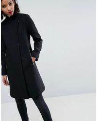 ASOS - Black Smart Slim Coat With Funnel Neck - Lyst