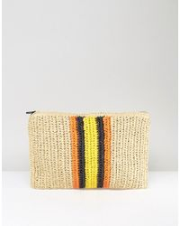 Warehouse | Natural Contrast Stripe Straw Clutch Bag | Lyst