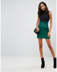 ASOS - Green Tailored Mini Skirt With Metal Circle Buckle - Lyst