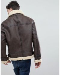 Mango - Brown Man Borg Lined Aviator Jacket In Chocolate for Men - Lyst