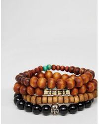 ASOS | Black Beaded Bracelet Pack In Brown for Men | Lyst