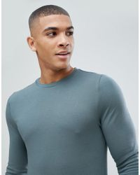 ASOS - Blue Muscle Fit T-shirt With Long Sleeves for Men - Lyst