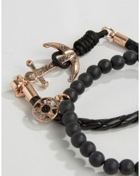 Icon Brand | Silverball Anchor Bracelet In Black/rose Gold for Men | Lyst
