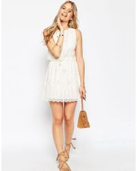 ASOS - Natural Mini Broderie Double Layer Sundress - Lyst