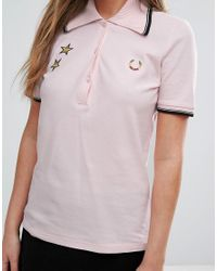 Fred Perry - Pink Bella Freud Star Embroidered Polo - Lyst