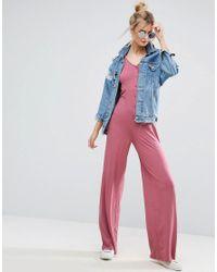 ASOS - Pink Button Detail Wide Leg Jumpsuit - Lyst