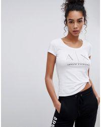 Armani Exchange - White Scoop Neck Dot Ax Logo Tee - Lyst